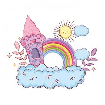 Castelo de conto de fadas bonito e arco-íris na nuvem