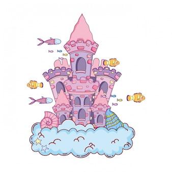 Castelo de conto de fadas bonito na cena submarina de nuvem