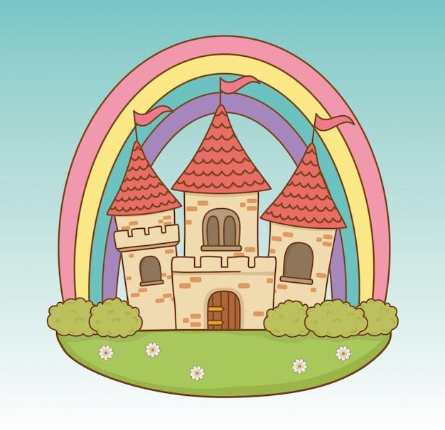 Castelo de conto de fadas com arco-íris na cena do campo