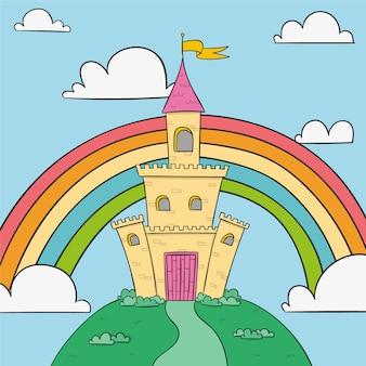 Castelo de conto de fadas com arco-íris