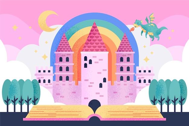 Castelo de conto de fadas com o conceito de dragão
