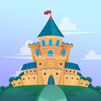Castelo de conto de fadas de design plano