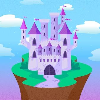 Castelo de conto de fadas de uma pequena terra verde