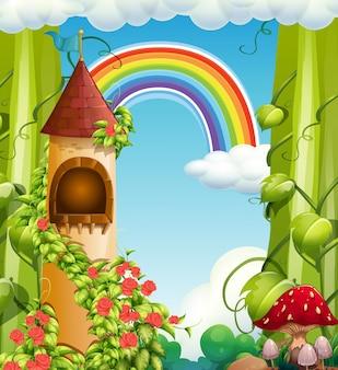 Castelo de conto de fadas do arco-íris e natureza