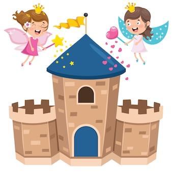 Castelo de conto de fadas e crianças felizes