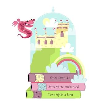 Castelo de conto de fadas e pilha de livros