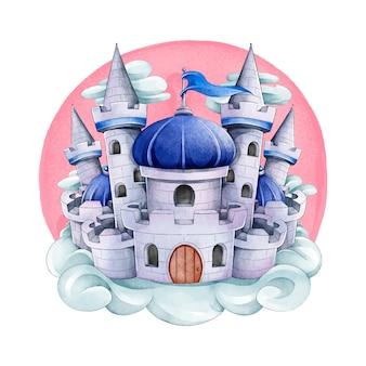 Castelo de conto de fadas em aquarela