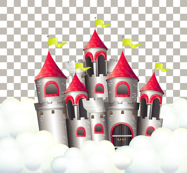 Castelo de conto de fadas em fundo transparente
