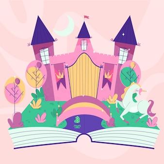 Castelo de conto de fadas em um livro