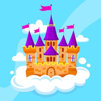 Castelo de conto de fadas em uma nuvem