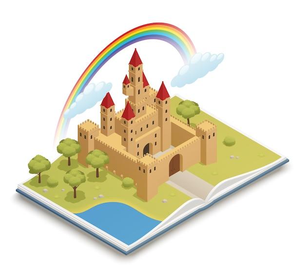 Castelo de conto de fadas isométrico