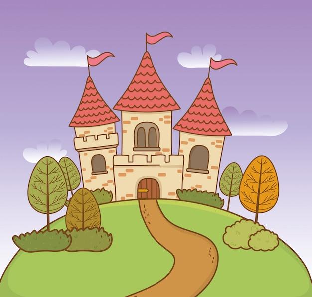 Castelo de conto de fadas na cena da paisagem