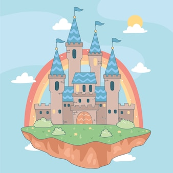 Castelo de conto de fadas na ilha flutuante