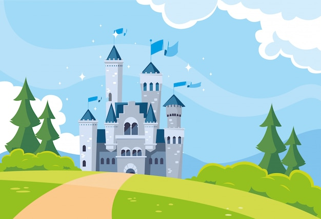 Castelo de conto de fadas na paisagem montanhosa