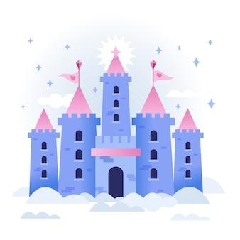 Castelo de conto de fadas nas nuvens