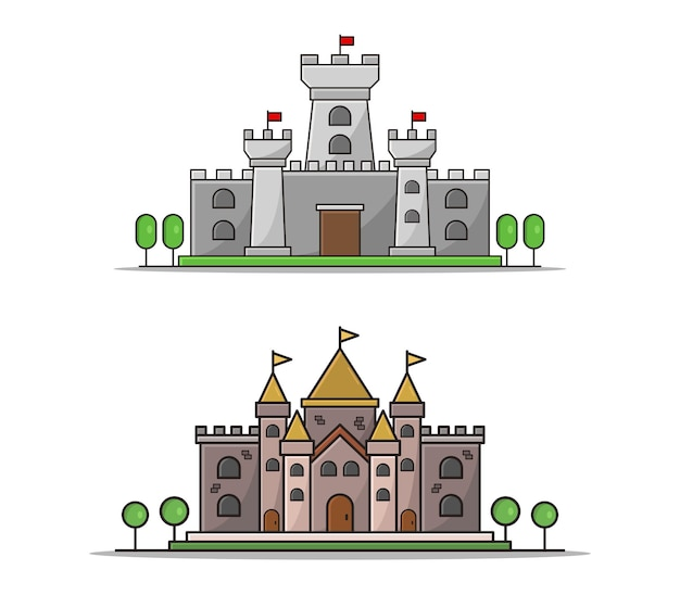 Castelo de desenho animado conjunto clipart isolado