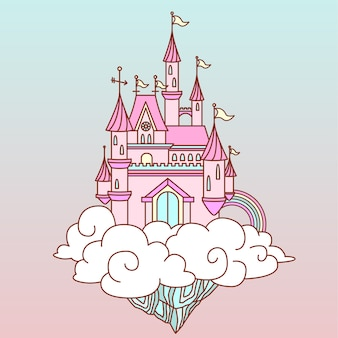 Castelo de fantasia rosa no céu