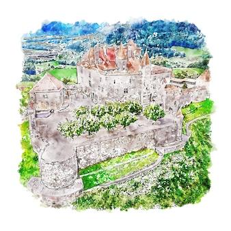 Castelo de gruyères, suíça, esboço em aquarela, ilustrações desenhadas à mão