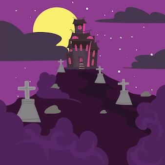 Castelo de halloween no cemitério