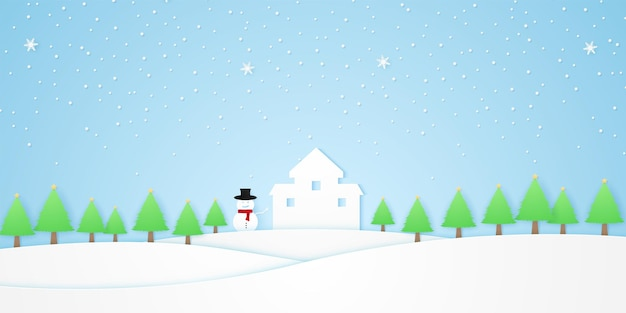 Castelo de paisagem com árvores de boneco de neve com estrelas e neve caindo na colina branca de inverno