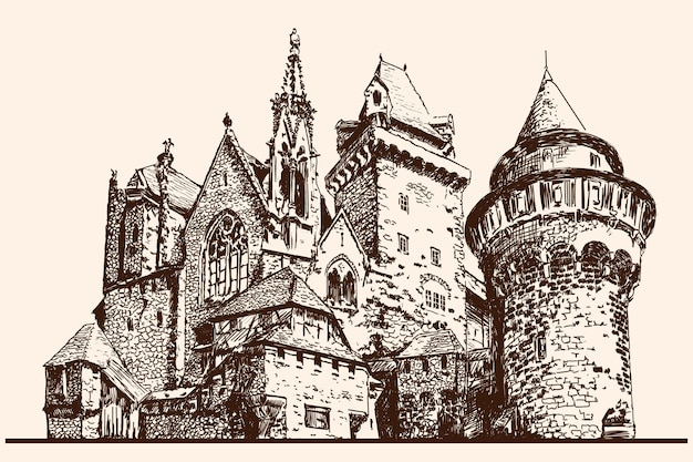 Castelo de pedra medieval com torres. esboço linear rápido.