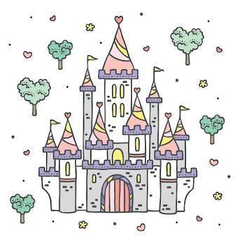 Castelo de princcess em floresta de conto de fadas