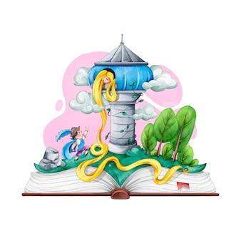 Castelo de rapunzel de conto de fadas com cabelos longos
