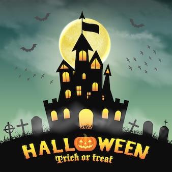 Castelo de silhueta de halloween em um cemitério de noite