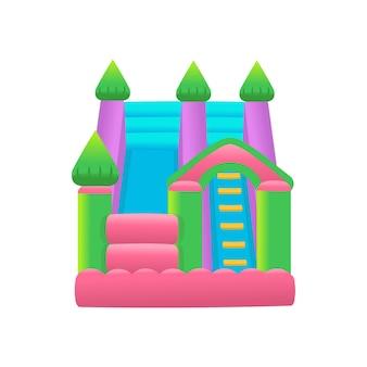 Castelo de trampolim inflável do air bouncer em um fundo branco ilustração vetorial de parque de diversões