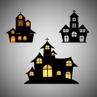 Castelo definido por objeto halloween dia
