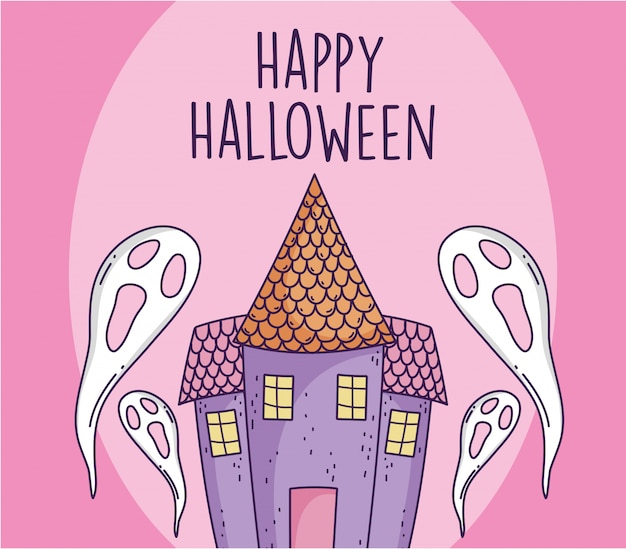 Castelo e fantasmas assustadores de feliz festa de halloween