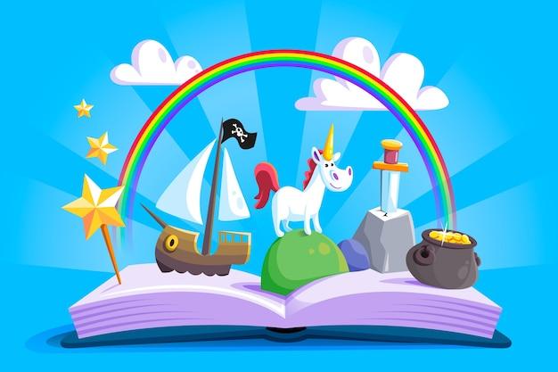 Castelo e livro inimagináveis de fairtytale