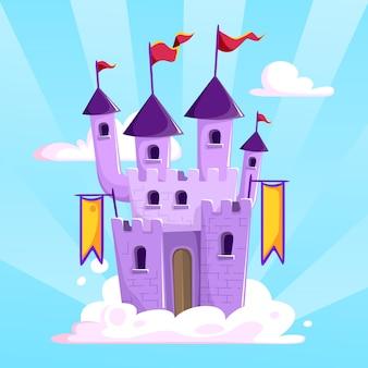 Castelo e nuvem inimagináveis de fairtytale