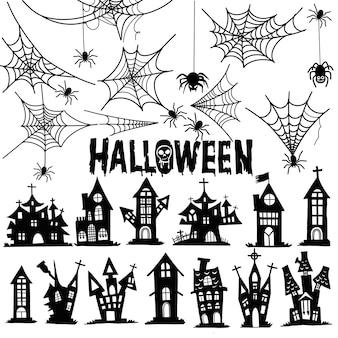 Castelo e teia de aranha halloween. casa e tempalate de ilustrações de teia de aranha. desenho vetorial