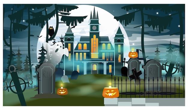 Castelo e túmulos na floresta, com fantasma e velas no luar