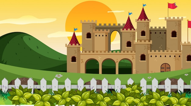 Castelo, em, cena jardim