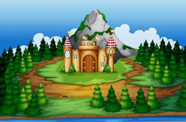 Castelo, em, madeiras, cena