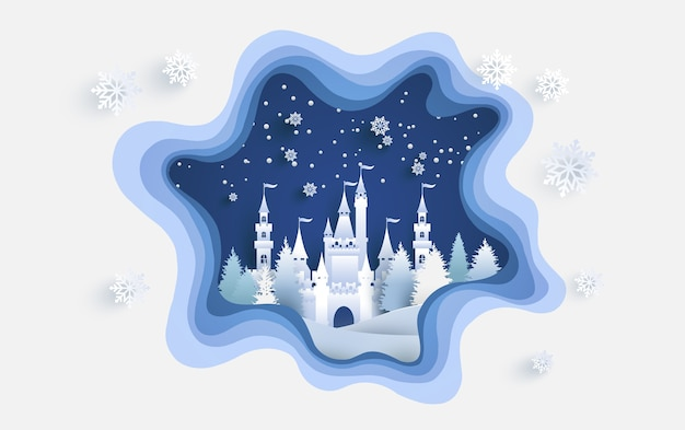 Castelo em uma colina nevada no inverno. papel de arte de design esculpido