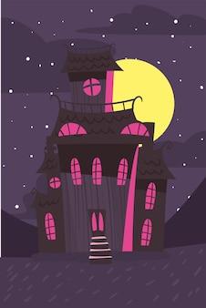 Castelo escuro à noite