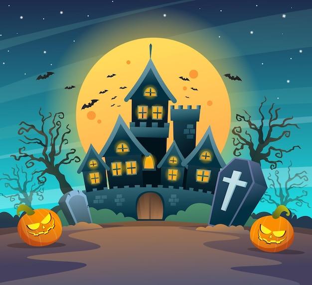 Castelo escuro com abóboras na ilustração dos desenhos animados do conceito de noite de luar de halloween