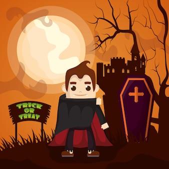 Castelo escuro de halloween com personagem drácula