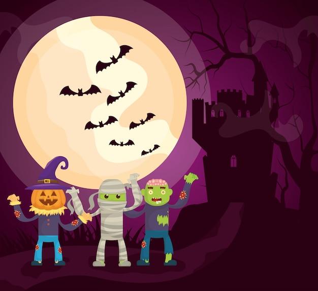 Castelo escuro de halloween com personagens