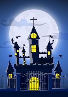 Castelo fantasma assustador com lua cheia