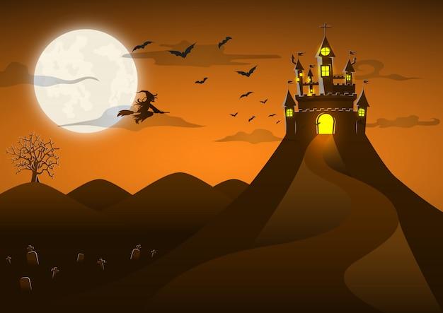 Castelo fantasma assustador na colina com lua cheia