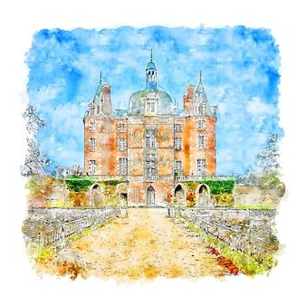Castelo frança esboço em aquarela desenhado à mão