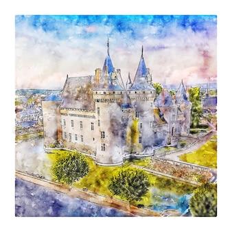 Castelo frança esboço em aquarela mão desenhada ilustração