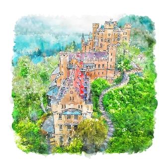 Castelo hohenschwangau alemanha esboço em aquarela desenhado à mão