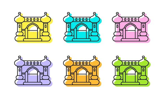 Castelo inflável inflável árabe conjunto de ícones de contorno