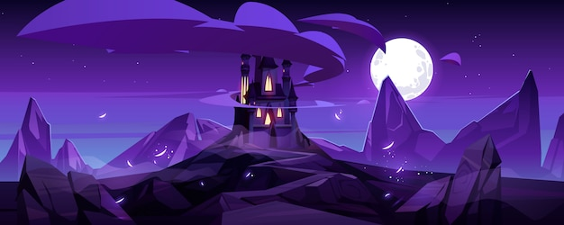 Castelo mágico à noite no palácio de conto de fadas na montanha