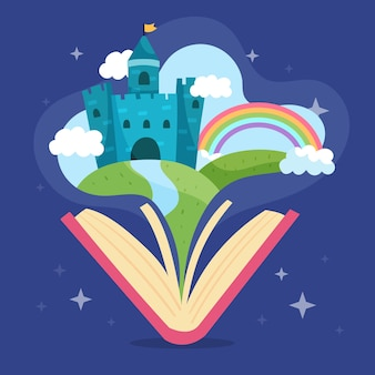 Castelo mágico de conto de fadas em um livro